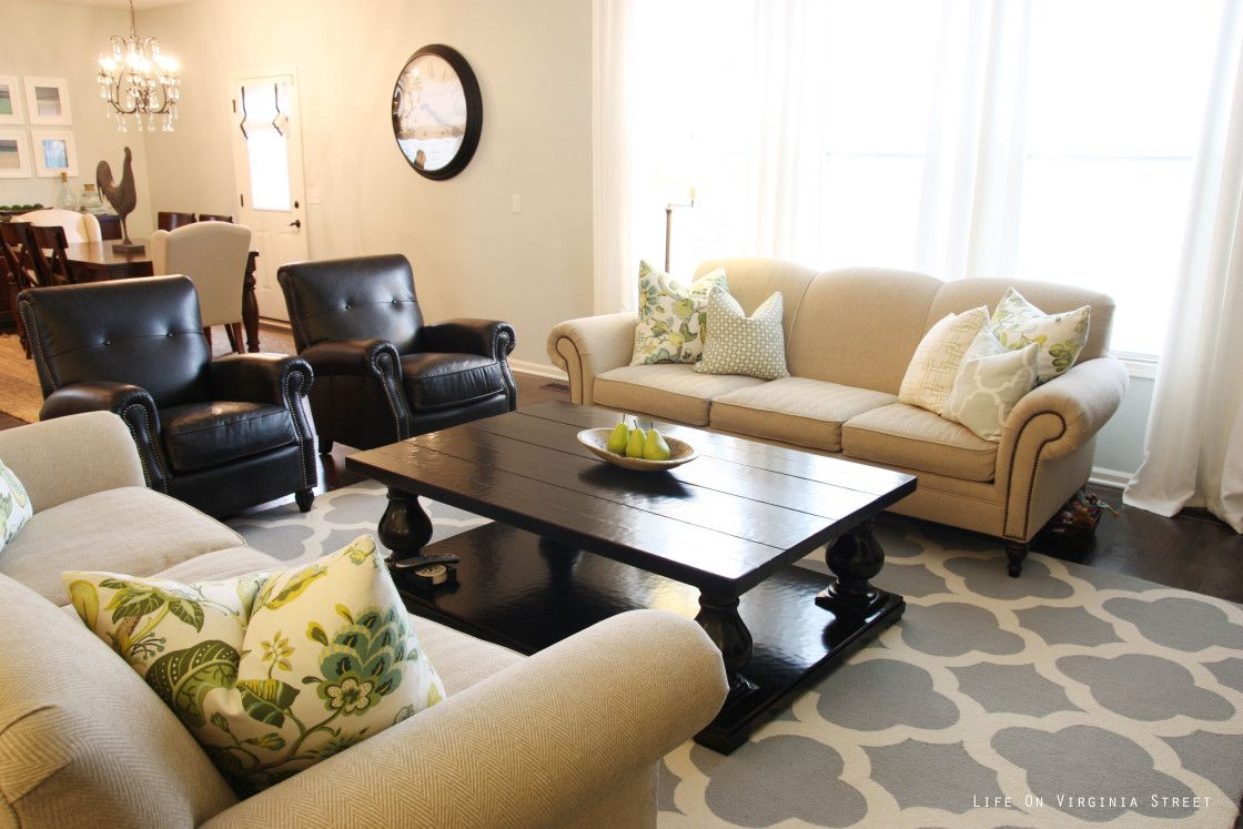 Charming Furniture Living Room Design With Two Black
