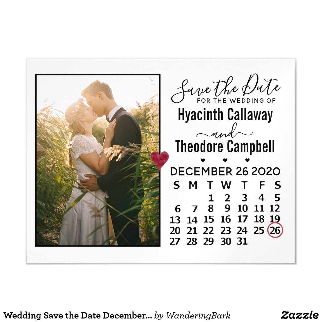 Wedding Save the Date December 2020 Calendar Photo