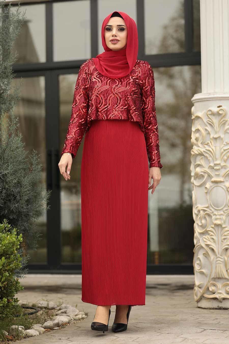 Photo of Tesettürlü Abiye Elbise – Pliseli Kırmızı Tesettür Abiye Elbise 3743K
