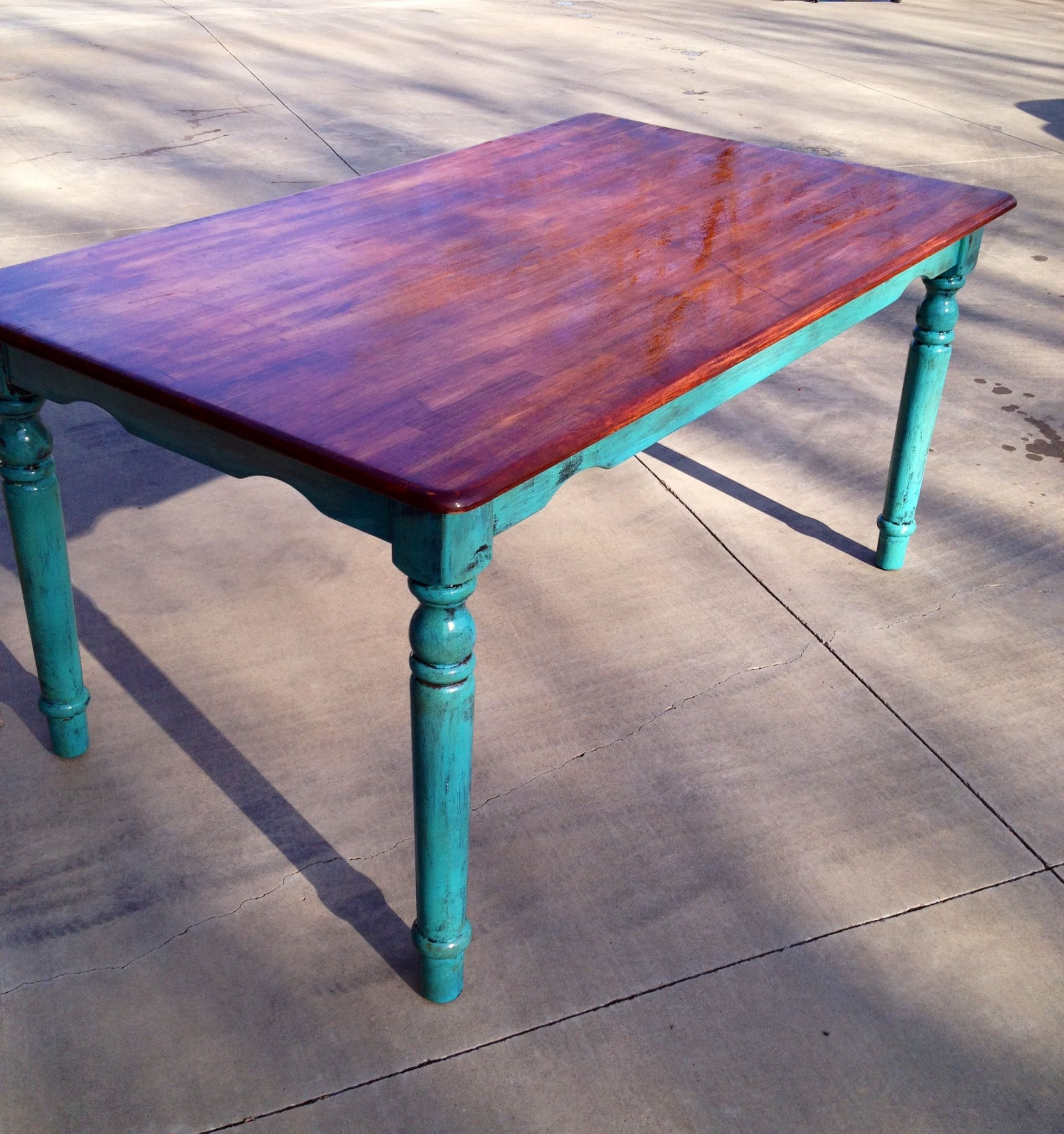 Distressed Turquoise Table Legs