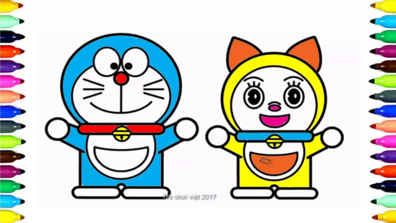 How To Draw Doraemon And Dorami Coloring Pages For Kids Learn Drawing Fo Coloring Pages For Kids Kids Learning Doraemon