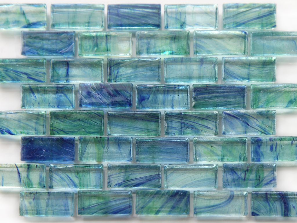 - Mirabelle Glass Tile Aqua Blue Green Brick Pattern In 2020 Blue Glass  Tile Backsplash, Glass Tile Bathroom Wall