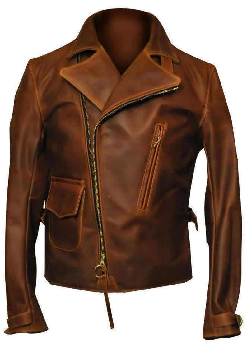 Leather Distressed Brando Jacket Biker Motorcycle Black Mens Real Genuine Pure