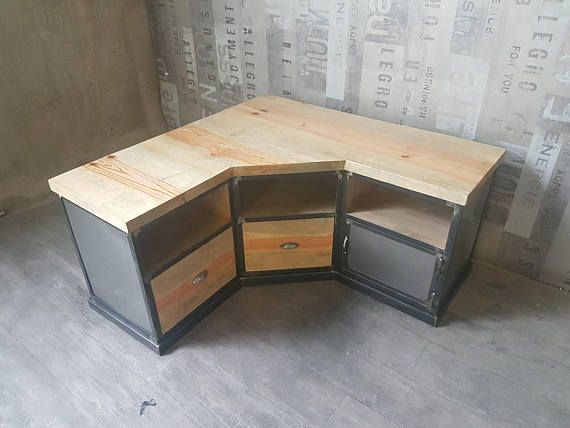Industrial steel and distressed solid pine corner tv Cabinet
