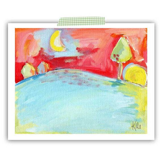#modern #sunset #painting  Modern Sunset Painting  www.kmericks.com $26