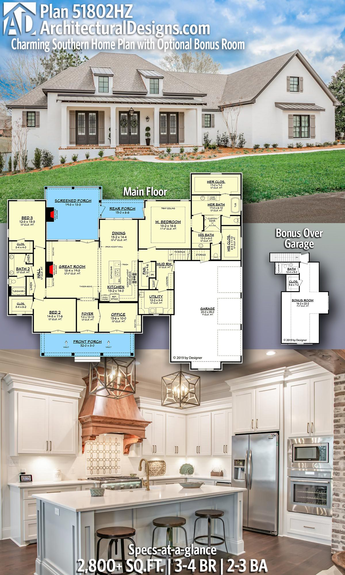 Architectural Designs Southern Home Plan 51802hz With 3 4 Bed 2 3 Bath In 2 800 Sq Ft Ready Wh House Plans Farmhouse Southern House Plans Dream House Plans