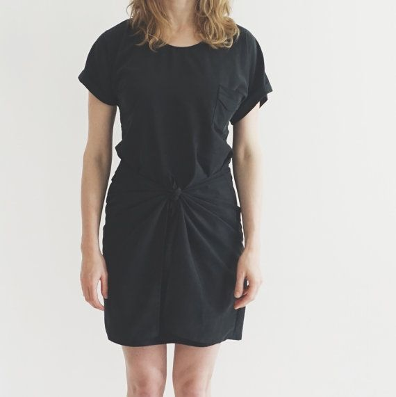Tie Dress PDF sewing pattern, a quick and easy sewing pattern for women. The Tie Dress is an easy to sew summer dress with a wrap and tie detail. It has a short kimono sleeve with a turned up cuff, a relaxed fit and a small chest pocket. This casual cool summer dress is a great beginner