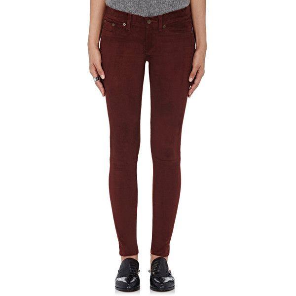 Rag & Bone Women's Suede Skinny Pants ($995) ❤ liked on Polyvore featuring pants, purple, stretch skinny pants, red pants, skinny trousers, zip pants and suede pants