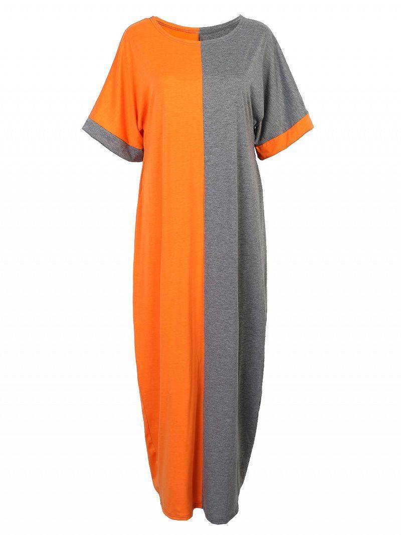 Softtouch woven fabricround necklinebat sleevescolor block