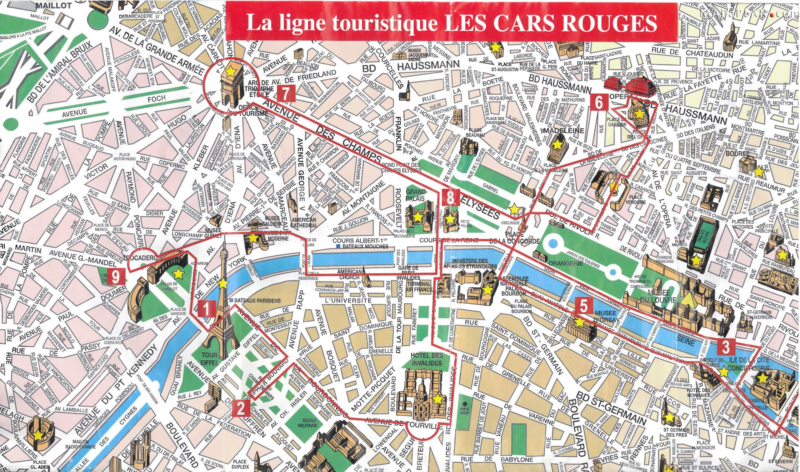 Paris Top Tourist Attractions Map 08 City Sightseeting Route ...