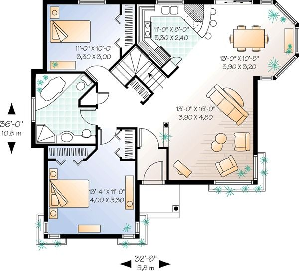 Plan 2596dh Cozy 2 Bed Cottage House Plan Cottage House Plans Cottage Floor Plans House Plans