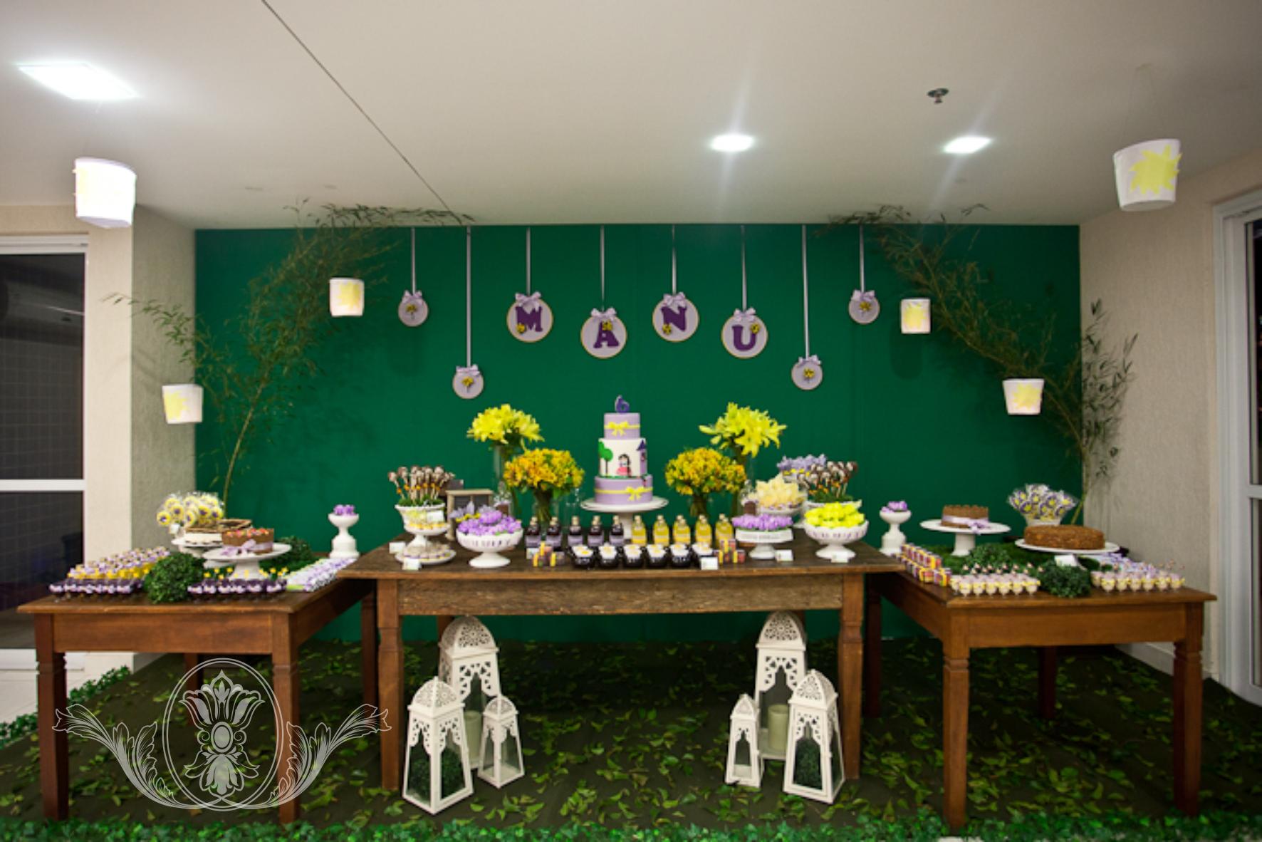 Mesa de doces Rapunzel by Pour Petit - Festas Infantis www.pourpetit.com.br