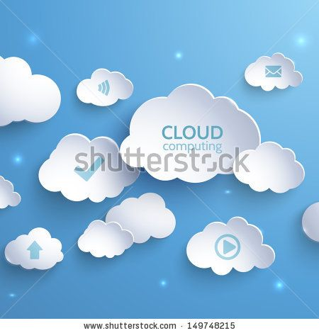 White paper clouds on a blue background. Cloud Computing. Social networks. Vector illustration. - stock vector