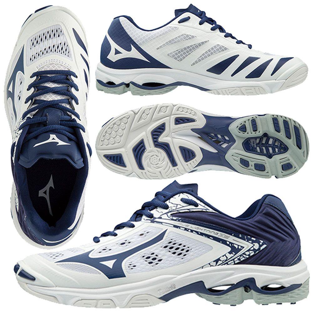 Mizuno Women S Wave Lightning Z5 White Navy Volleyball Shoes Mizuno Hoka Running Shoes