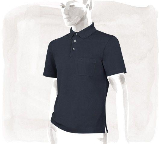 d411891de6a1 Polo Hermes Polo in indigo, one pocket with embroidered H logo, 100% cotton