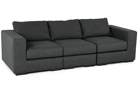 Alliniya 3 Seater Sofa Dimensions Inch 92 L X 32 W 28 H Material Fabric Solid Wood Frame Color Finish Dark Grey