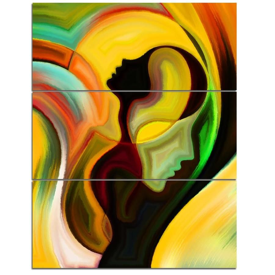 Designart Way of Parenting- Abstract Canvas Artwork Cotton in Yellow   PT6102-3PV