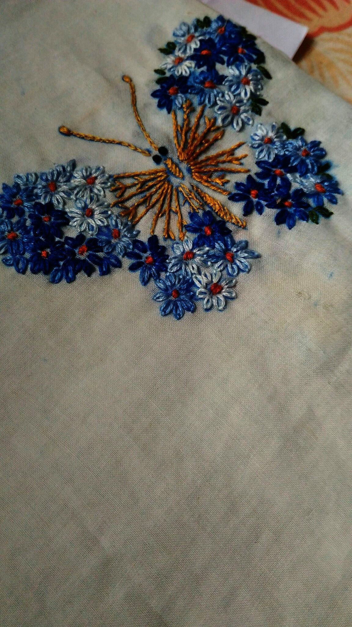 Easy hand embroidery lazy daisy stitching butterfly embroidery