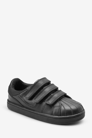 Black Triple Strap Leather Trainers