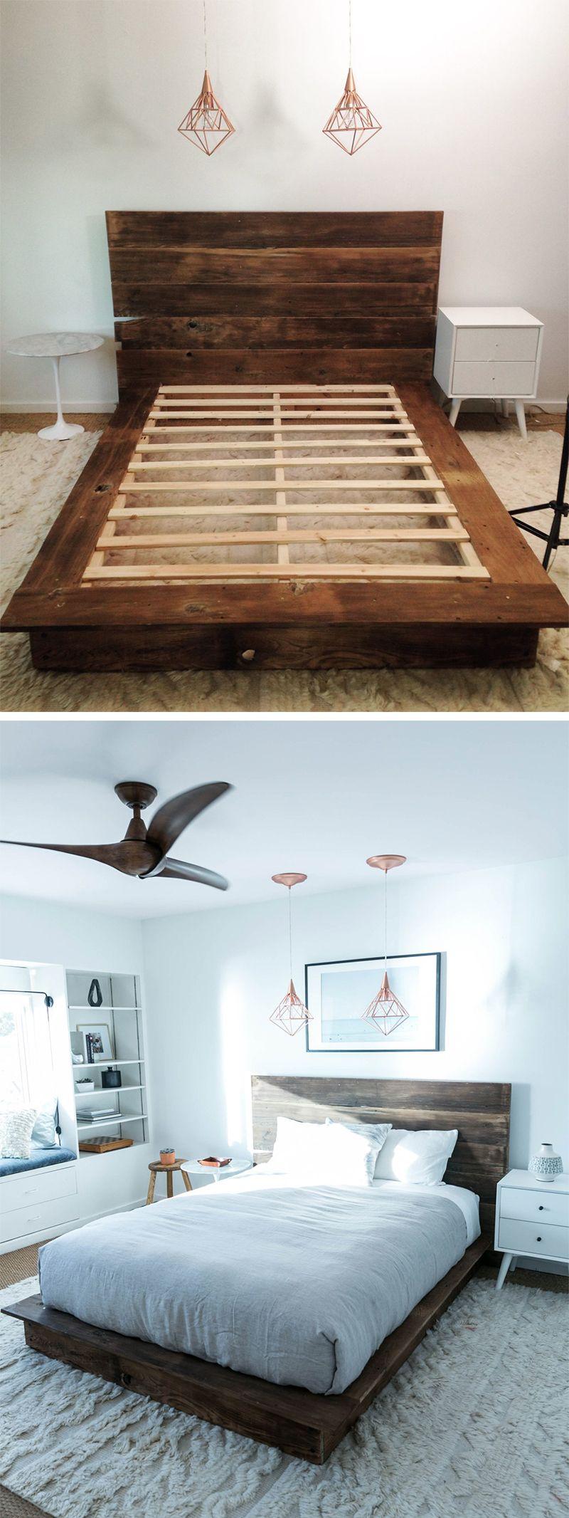 Diy Reclaimed Wood Platform Bed Bed Frame Headboard Wood