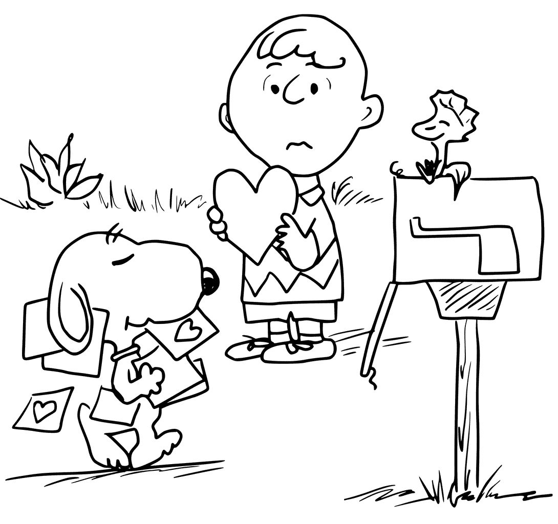 Charlie Brown Valentine Coloring Pages Download ...