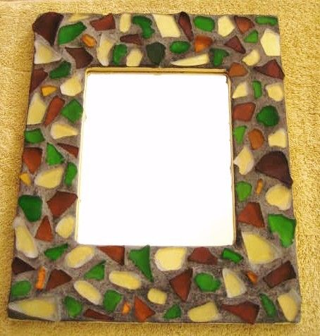 TriColor Sea Glass Grouted Mirror by mexicobeachgirl on Etsy, $30.00