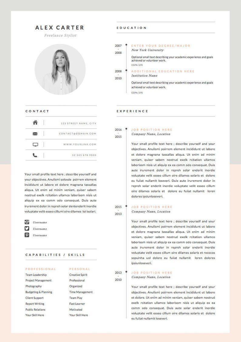 Modern Resume Template Cover Letter Icon Set For Microsoft Word 4 Page Pack Professional Cv Instant Download The Scandi Modele De Cv Moderne Cv Moderne Modele Cv