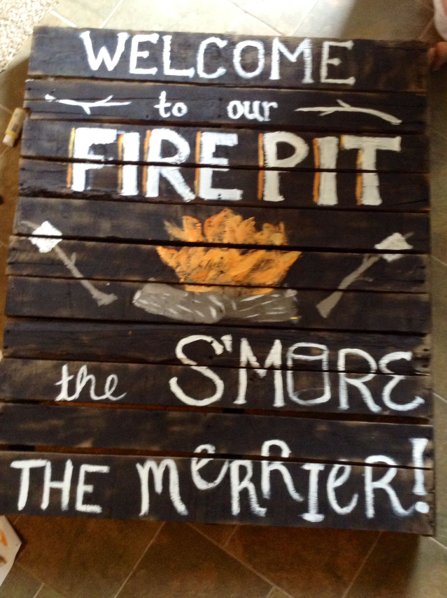 Fire Pit Pallet Sign Diy Fire Pit With Rocks Modern