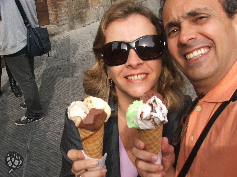 Sorvete em San Gemignano na Toscana, o sorvete é tido como o melhor do mundo. A Gelateria Dondoli fica na Piazza della Cisterna.
