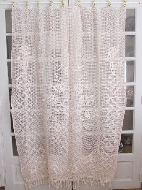 Crochet Curtain French Filet Lace Panel Vintage by HatchedinFrance ...