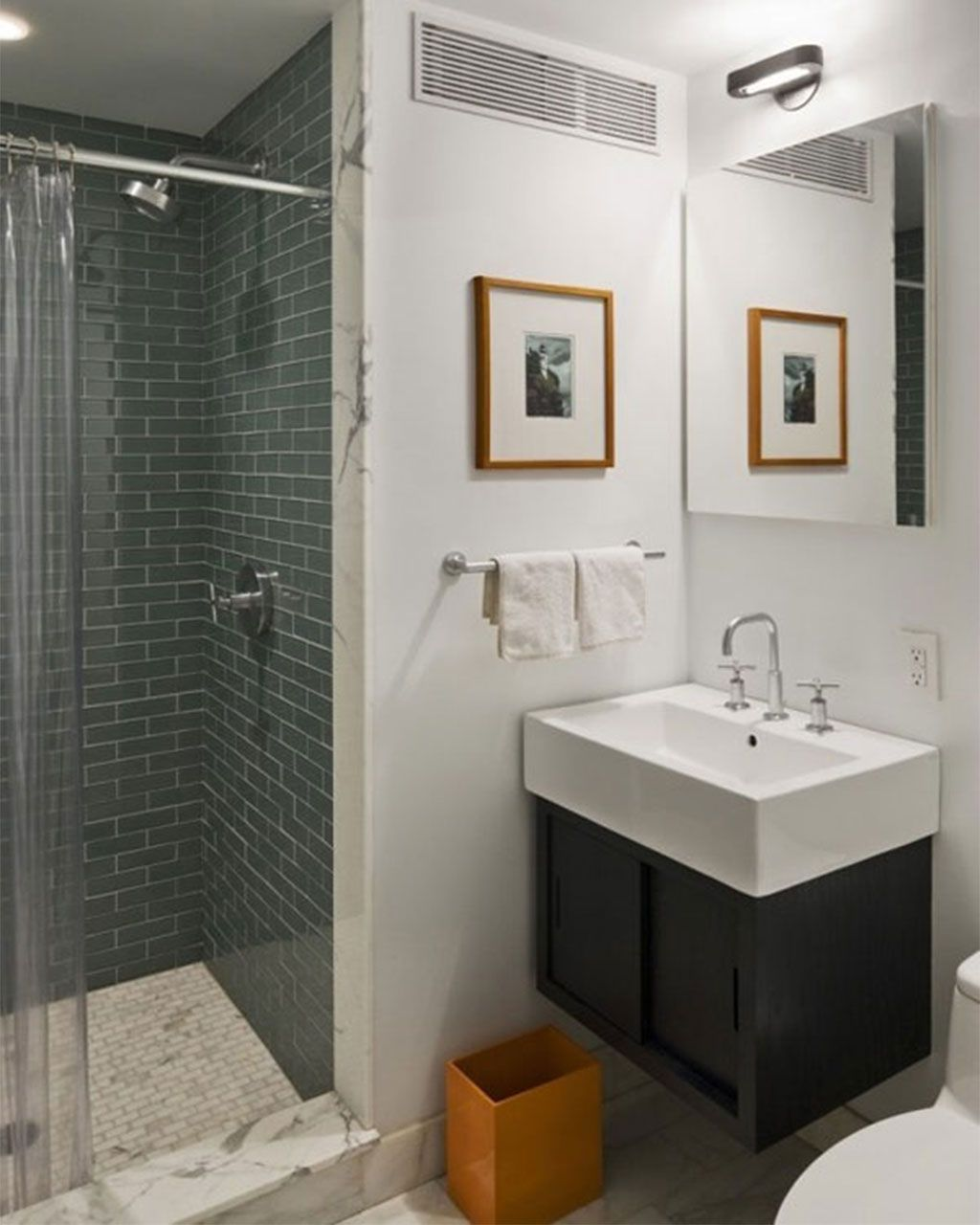 Stylish Grey Tile Wall in Cozy Shower Area near Floating Vanity inside Small  Bathroom Design Ideas