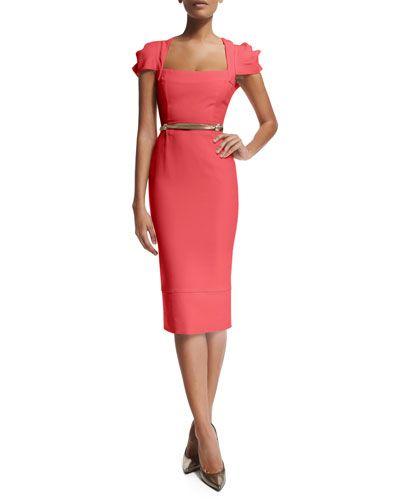 80756fbdb B331E Roland Mouret Galaxy Square-Neck Sheath Dress, Rose Pink | My ...