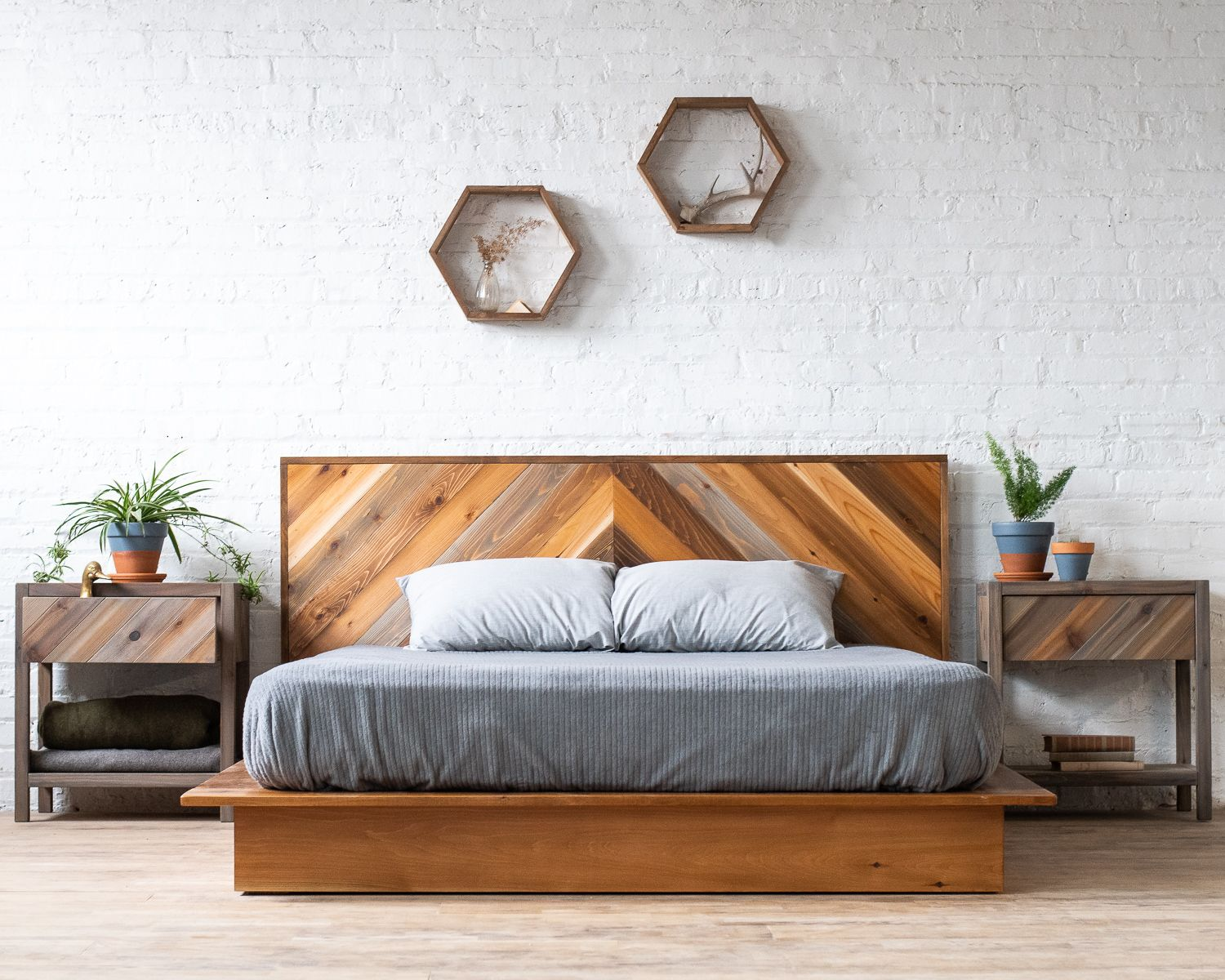 Low Pro Rustic Modern Platform Bed Frame and Headboard