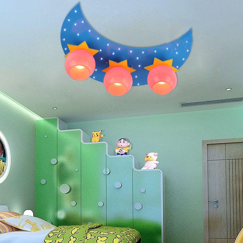 Creative 3 Lights Cartoon Moon Stars Led Children S Bedroom