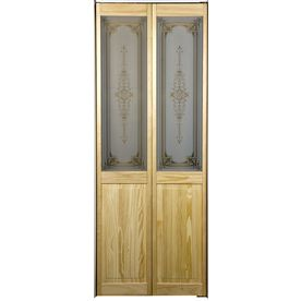 Shop Pinecroft 29 1 2 In X 78 3 4 In Half Lite Wood Interior Bifold Closet Door At Lowes Com Bifold Doors Glass Decor Bifold Closet Doors