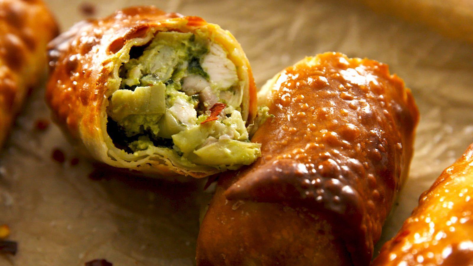 Air Fryer Avocado Spinach Artichoke Egg Rolls Recipe