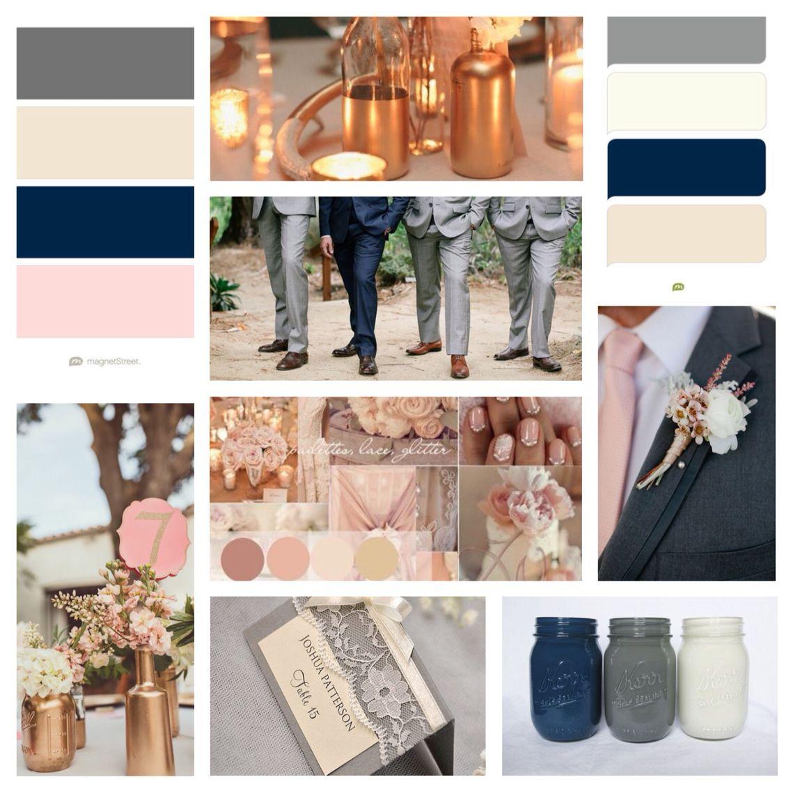 Wedding Colors Copper Rose Gold Blush Ivory Beige Grey Navy