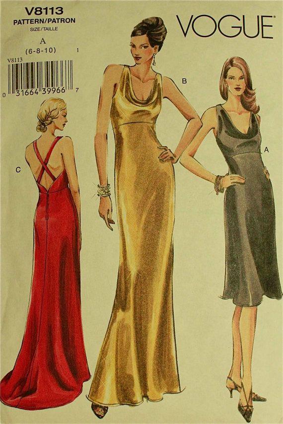 Dress Cowl Neckline 2000 S Vogue Pattern 8113 Uncut Sizes 6 8