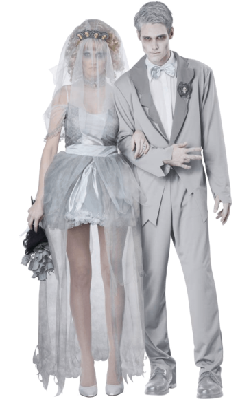 e917ded87600 Ghost Groom   Bride Couple Costumes