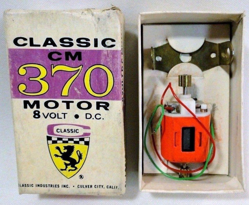 Classic CM 370 8 volt slot car motor, still in the original box.