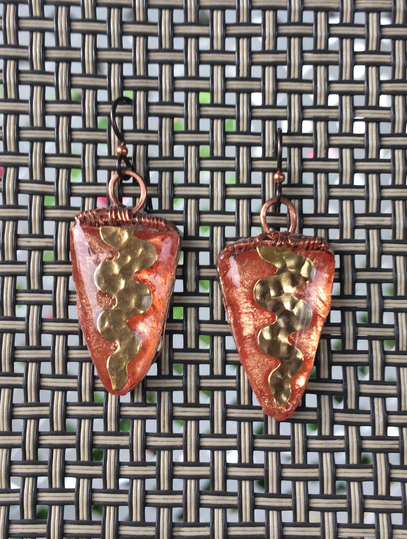 Triangular Wire Wrapped Resin Earrings with Embedded Squiggly ...