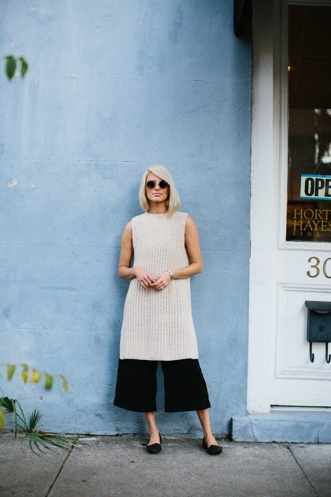 cea48f929d4 Pin for Later  8 Really Good and Easy Ways to Layer This Fall Play with  proportions by layering a longline sweater over culottes and add flats.
