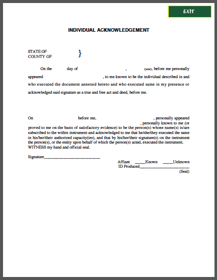 Individual Acknowledgement Affidavit  Forms