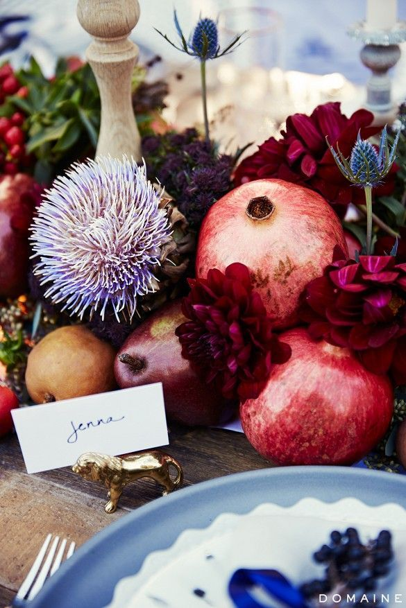 Florals and Pomegranates   Unique Centerpiece   Fall Tablescape