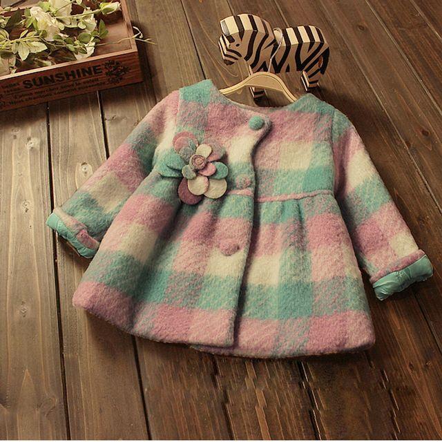 Crianças roupas de bebê meninas moda outerwear princesa grade crianças  inverno casaco grosso quente pastoral longo blazer 5b177857dde60