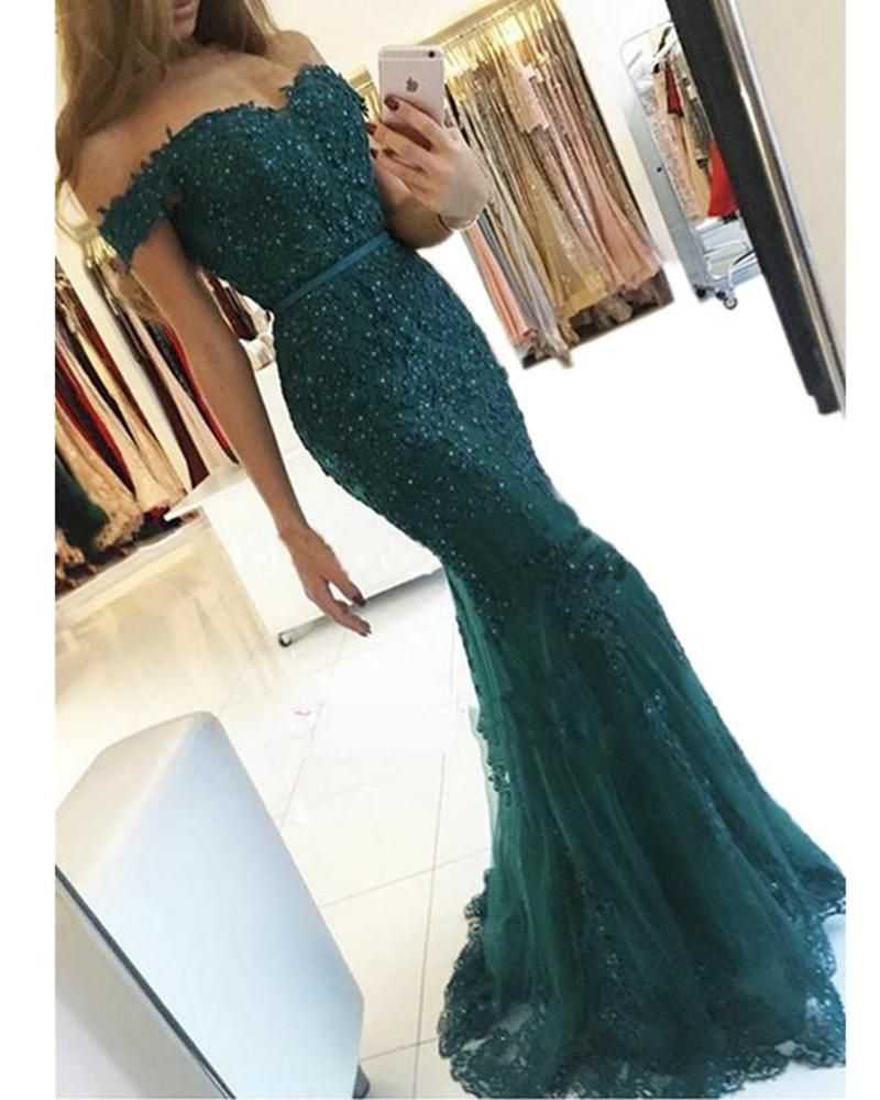 Off the shoulder dark green lace prom dress mermaid formal evening