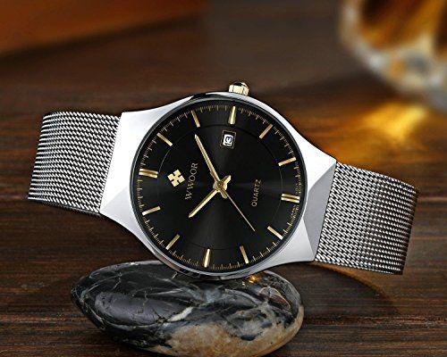 Fashion Mens Watch Mesh Band Japanese Analog Quartz Movt Thin Dial Date Wrist Watches,black