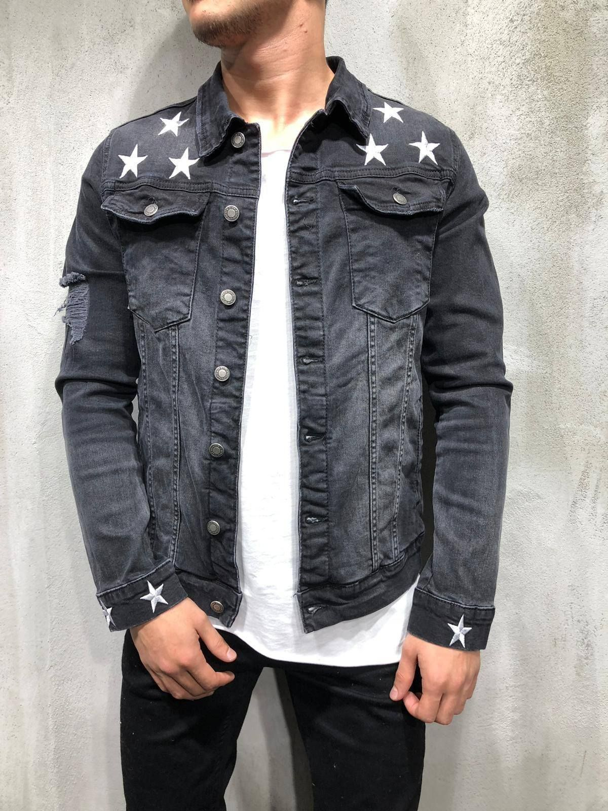 Trucker Denim Jacket Ripped Star Embroidery Black In 2019 Jacket