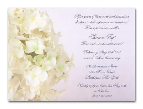 Retirement Party Invitation Wording Christian White Hyrdrangea