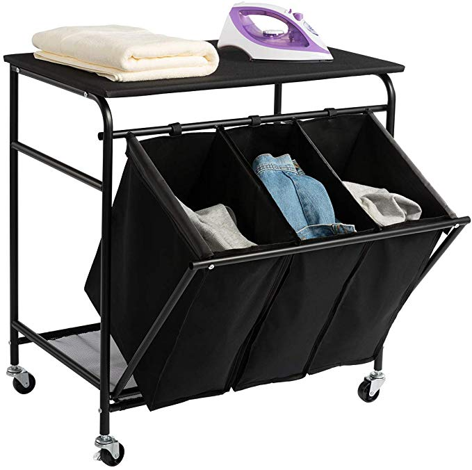 Amazon Com Hollyhome Laundry Sorter Cart With Unopenable Ironing Board With Side Pull 3 Bag Heavy Duty Laund Laundry Sorter Laundry Hamper Bag Heavy